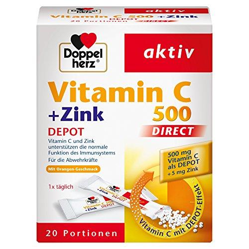 Doppelherz Vitamin C 500 DIRECT Micro Pellets mit DEPOT-Effekt - Nahrungsergänzungsmittel mit Vitamin C und Zink zur Unterstützung des Immunsystems und des Zellschutzes - 1 x 20 Portionen -