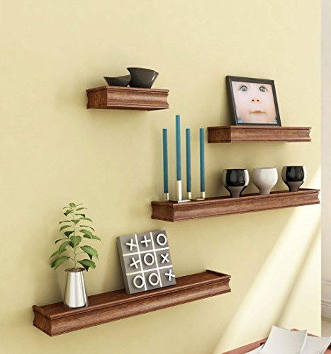 Brown Wooden Wooden Wall Shelf Set Of Four/ Display Rack Shelf For Home Décor  available at amazon for Rs.899