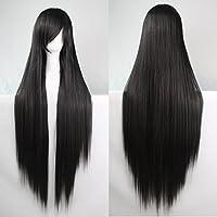 Mujeres Ladies Girls 100cm Negro Color de larga recta pelucas de alta calidad Carve pelo del partido de Cosplay del Anime del traje Bangs completa Sexy Pelucas