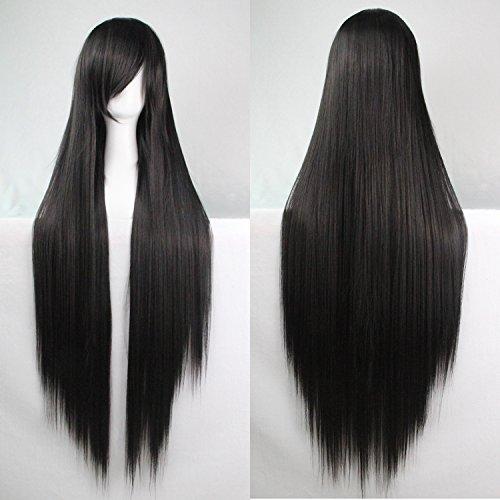 Mujeres-Ladies-Girls-100cm-Negro-Color-de-larga-recta-pelucas-de-alta-calidad-Carve-pelo-del-partido-de-Cosplay-del-Anime-del-traje-Bangs-completa-Sexy-Pelucas