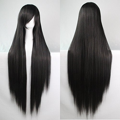 Frauen / Damen 100cm schwarz Farbe lange gerade Cosplay / Kostüm / Anime / Party / Bangs Voll Sexy (Kostüm Perücke Schwarze Box)