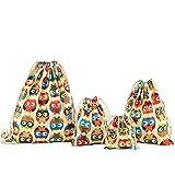 7a8fe2409 Amoyie - Bolsas de tela 4 piezas, mochila de cuerda + 3 bolsos del  almacenaje