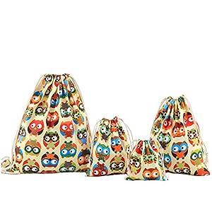 Amoyie – Bolsas de Tela 4 Piezas, Mochila de Cuerda + 3 Bolsos del almacenaje Organizador para Maleta, Color búho