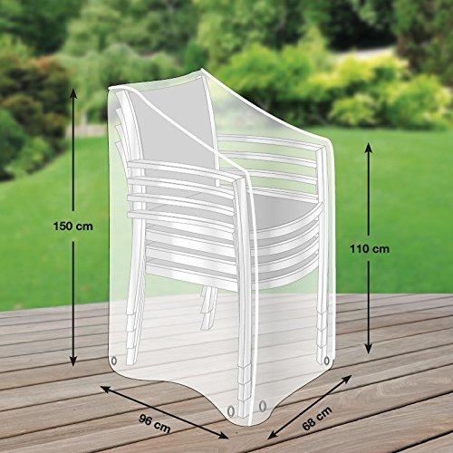 Premium Schutzhülle für Stapelstühle/Gartenstühle aus Polyester Oxford 600D - lichtgrau - von...