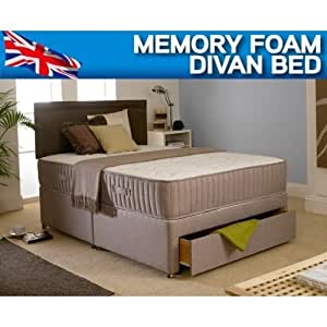 "6FT SUPER KING DIVAN BED WITH 10"" DEEP MEMORY FOAM MATTRESS OPEN COIL SPRUNG SYSTEM"