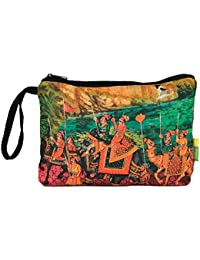 Eco Corner - Indian Art Parade - Pouch - Big - 100% Cotton / Washable / Printed On Both Sides / Zip Closure With...