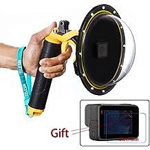 Estuche impermeable con puerto de domo para GoPro Hero 5/6, cubierta de lentes con pistola de disparo para accesorios de buceo con lente de cámara GoPro (juego de domo + gatillo)