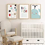 qiumeixia1 Cartoon Canvas Painting Posters, Big Fish Posters And Prints Canvas Art Wall Pictures For Living Room Nordic Decoration Home 40 * 50cm No Frame