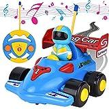 Jouet pour fille garçon de 2ans, jouet voiture bébé voiture télécommandée, RC voiture rechargeable avec musique et lumière, cadeau anniversaire pour enfant fille garçon 3 4 ans