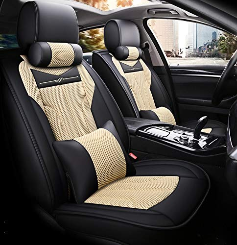 Copertura del sedile dell'automobile universale della fibra di protezione anteriore e posteriore del sedile completo del cuscino adatto per l'uso tutto l'anno,Beige