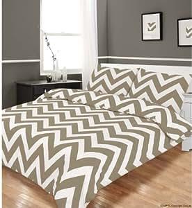Zigzag beige parure de lit-housse de couette 200 x 200 cm 2 taies d'oreiller de 50 x 75 cm blanc à rayures beige