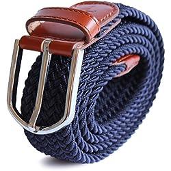 APPAREL NORTH - Cinturón elástico trenzado stretch, Para Hombre, Múltiples colores y tamaños, Detalles de cuero genuino