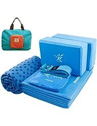 RISEFIT Fitness Yoga-Set: 1 Faltbare Yogamatte mit 4mm Dick, Yogablock 2er Set, 1 Yoga Handtuch, 1 Yogagurt, 1 Fitnessband - Richtige Kombination für Anfänger, Yoga-Übung, Pilates, Fitness und Gymnastik