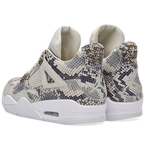 Nike Air Jordan 4 Retro Premium, espadrilles de basket-ball homme Ivoire - Hueso (Lght Bn / White-Pr Pltnm-Wlf Gry)