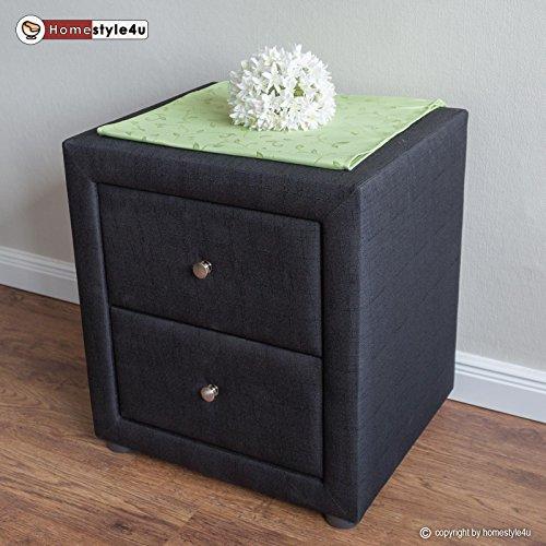 Homestyle4u Nachtschrank Nachttisch Schlafzimmer Nachtkommode Beistelltisch schwarz Stoff