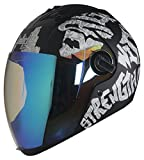 #6: Steelbird Air SBA-2 Strength Night Vision Full Face Graphics Helmet - Single Night Vision Dual Action Visor for Day and Night (Large 600 MM, Matt Black/White)