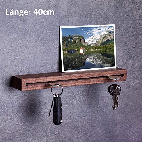 WOODS Schlüsselbrett Holz in 40cm - viele Varianten/Holzarten (in Bayern handgefertigt) Schlüsselhalter Nuss/Moderne Schlüsselleiste als Board Schlüssel-Aufhänger/Nussholz