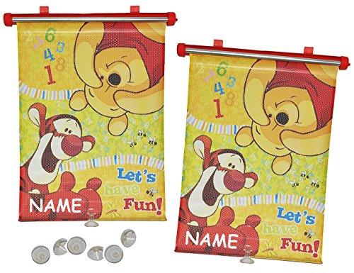 2 tlg. Set Sonnenschutz Rollo - Winnie the Pooh - incl. Namen - für Fenster und Auto Seitenscheibe - Sonnenblende - Jungen Mädchen Kinder Baby - Sonnenrollo - Puuh Bär Tigger - Rollos / Fensterblende - Sonnenschutzrollo