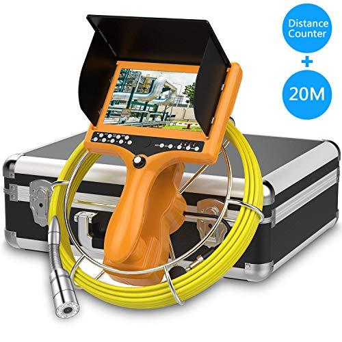 Abflusskamera, HBUDS-Kanal Rohrinspektionskamera, industrielles Endoskop-Schlangen Videosystem mit Meter Zähler Wasserdichter IP68 9-Zoll-LCD-Monitor 1000TVL CCD-Rohrkamer