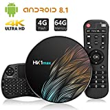 TICTID Android 8.1 TV Box HK1 MAX con Wireless Mini Tastiera, 4GB DDR3 + 64GB EMCC, RK3328 Quad-Core 64-Bit, Dual Wi-Fi 2,4G / 5G, 100M LAN, Bluetooth 4.0, 3D H.265 4K Android TV