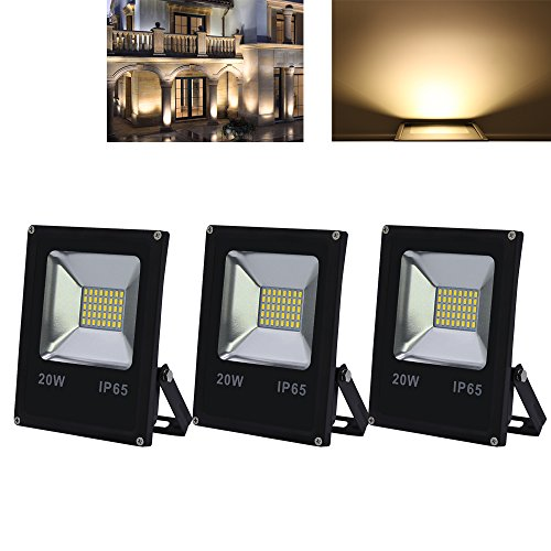 VINGO® 3X 20W LED Fluter Warmweiß 230V Flutlicht Aussen Baustrahler IP65 LED Spot Strahler Wasserdicht 1600LM Leuchtmittel (Flutlicht Beleuchtung Landschaft)