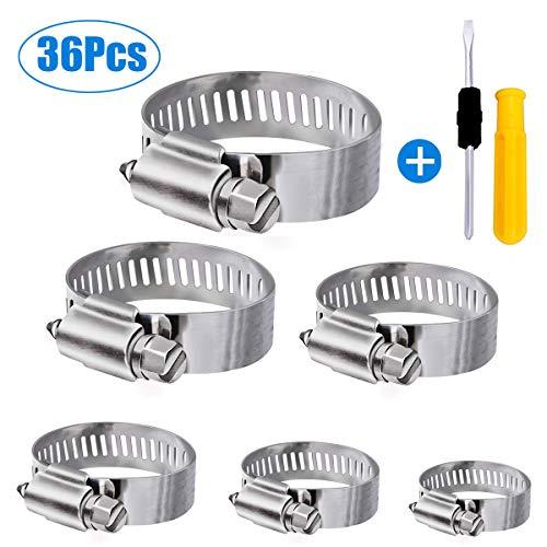 Winwoner Schlauch Clips, 36 pcs verstellbar 6-51 mm Schlauchschelle Edelstahl Sortiment 8 Größen für Familie Wasser Rohr, Tank, Automobil-Tubing etc.