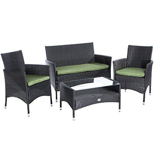 Rattan lounge set  Ultranatura Poly-Rattan Lounge-Set Palma-Serie 4-teilig / Tisch + ...