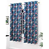Story@Home Modern Polyester Floral Pattern Eyelet 2 Piece Printed Ringtop Window Curtain Set for Drawing Room, Bedroom and Hall - 5 Ft, Blue & Pink