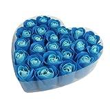 SODIAL(R) 24 x Jabon de Bano Petalos de Rosa Azul Perfumado en Caja de Corazon