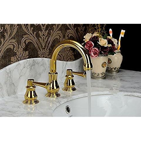 CAC Ottone Golden montate sul ponte maniglie doppia bagno LAVABO