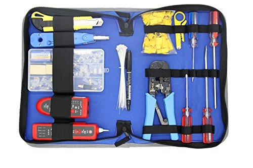 Netzwerk-Installation Tool Kit –-inkl. LAN Tester, RJ45RJ11-Crimper, Stripper, Utility Messer, Schraubenzieher, und Krone Punch Down Werkzeug