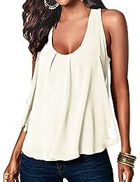 Eleery Débardeur Femme Tops Gilet Vest T-shirt Blouse sans Manches Haut Été Soie de Mousseline Col O Casual Simple Clubwear Plage