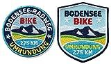 2er-Set Bodensee-Radweg Abzeichen gestickt / Bike Fahrrad Umrundung / Aufnäher Aufbügler Sticker Flicken Patch für Kleidung Rad-Tasche Rucksack / Radtourenkarte Touren-Karte Rad-Reiseführer Buch