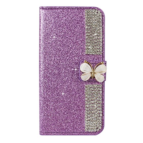 iPhone 6S Plus Hülle Leder Rosa Schleife PU Ledertasche Flip Wallet Cases Book Cover Glitzer Schutzhülle Strass Diamant Handyhülle Etui TPU Silikon Bumper mit Rosa Schmetterling Strass Magnetverschlus Lila