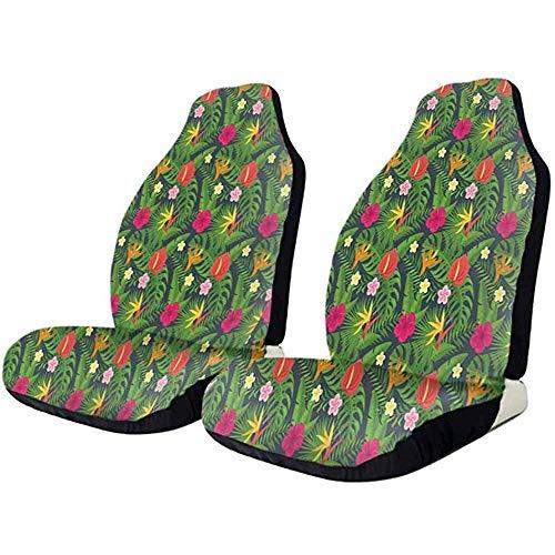 Olive Croft 2PCS Coprisedile anteriore per auto, protezione per sedili automobilistici vintage Hawaii Vegetation