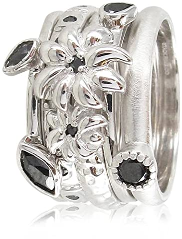Stack Ring Co, Sterling Silver, Black Hole,Rhodium Plated ,Silver Double Flower,Black Cubic Zirconia 5 Band Freedom and Prima Mix Stack Ring - Size