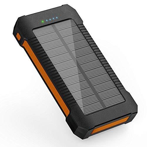 Solar Ladegerät Power Bank 22000 mAh, tragbares Solar Handy Ladegerät Solar Panel externer Akku Ladegerät mit Dual USB, der U89, LED Taschenlampe, IPX7 Wasserdicht, stoßfest und staubdicht, für Handy