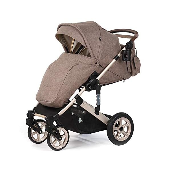 Roma Moda Pram, Includes Carry Cot, Rain Cover, Cup Holder and Bag - Tweed Roma Suitable from newborn - 15kg - Raised backrest in the carry cot Lightweight aluminium frame - All round suspension - Easy fold All terrain tyres (rear air tyres and front foam tyres) Large hood with viewing window 4