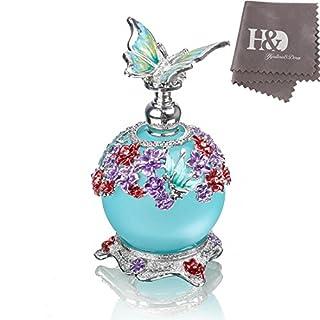 H & D Schmetterling Parfüm Flasche, Retro Milchglas nachfüllbar Glas Parfüm Flasche leer mit Blau Flasche Body 23ml