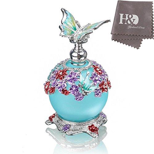 H & D Schmetterling Parfüm Flasche, Retro Milchglas nachfüllbar Glas Parfüm Flasche leer mit Blau Flasche Body ()