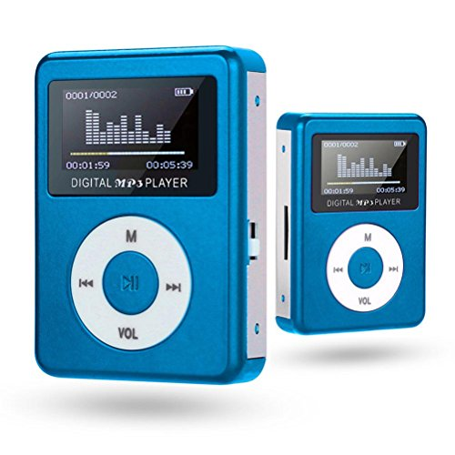 Y56 USB Mini MP3 Player LCD Bildschirm Unterstützung 32 GB Micro SD TF Karte (Blue)