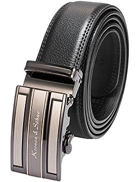 KS Cinturón Vestido de Cuero para Hombre, Hebilla Automática de Acero Inoxidable KB025