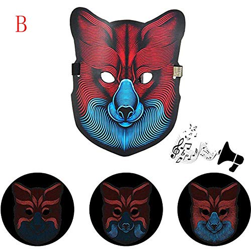 BZLine Sound Reaktive LED Halloween Masken, Sound Reactive LED Maske Tanz Rave Licht Einstellbare Maske Für Festival, Cosplay, Halloween, Kostüm, Batterie Angetrieben (Wolf)