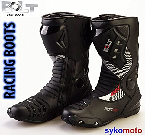 BOLT S12 SPORTS PROTECTION MOTORCYCLE RACING SLIDER WATERPROOF BLACK BOOTS 8/42