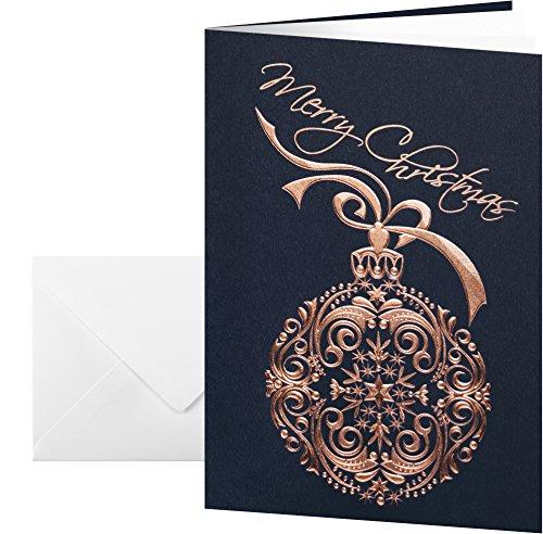 Sigel DS346 Weihnachtskarten Set mit Umschlag, DIN A6, 10 Stück, mit Kupferprägung - weitere Designs