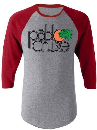 Step Brothers Pablo Cruise adultes Gris and Maroon Raglan T-shirt - Gris - Large