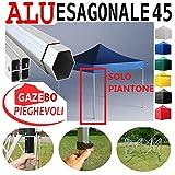Piantone Gazebo Esagonale Pieghevole Alluminio a Forbice Ombrello Professionale mercati piantone Esagonale Stand tendone caritas