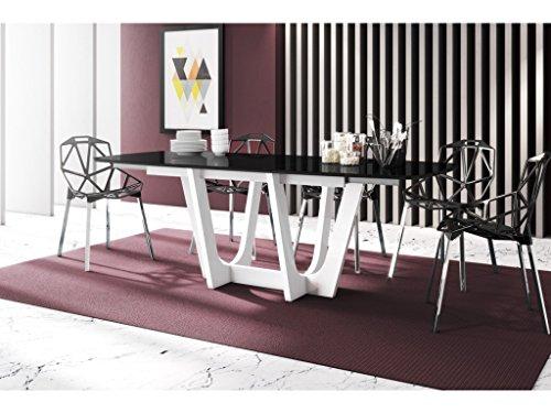 H MEUBLE Table A Manger Design Extensible 160÷256 CM X P : 89 CM X H: 75 CM – Noir