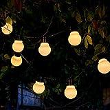 Auraglow Set von 10 Solar String Girlanden Laternen LED Lichterkette Retro Garten Lampen - White Cover
