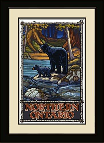Northwest Art Mall Northern Ontario Bears in Stream Gerahmter Art Wand von Paul A. lanquist, 13von 40,6cm